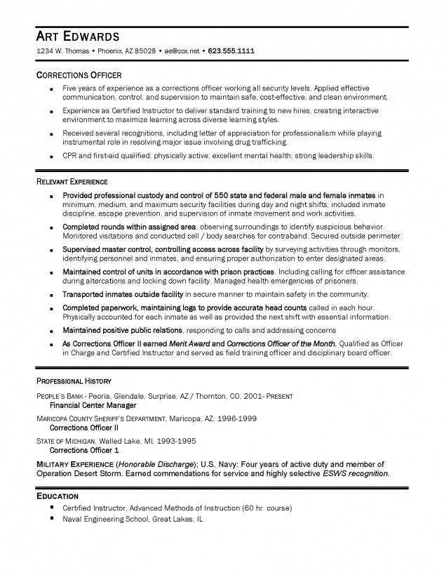 Resume For Correctional Officer  PetitComingoutpolyCo